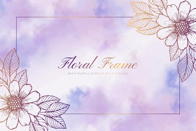 Marco floral con fondo de polvo púrpura
