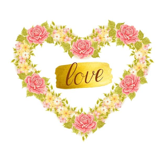 Marco floral en forma de corazón. elemento de diseño para el diseño de invitaciones, tarjetas de felicitación.