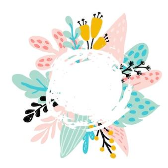Marco floral con grunge, hojas de árboles tropicales, plantas abstractas, hojas, flores en colores pastel. para invitaciones, tarjetas para el día de la boda, día de la madre, cumpleaños, día de la mujer, ilustración vectorial