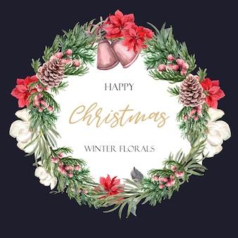 Marco floral de la guirnalda floreciente del invierno elegante para el vintage hermoso de la decoración