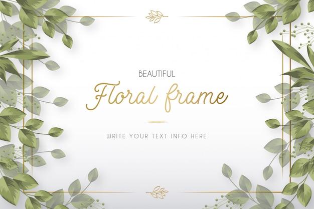 Marco floral hermoso moderno con plantilla de hojas