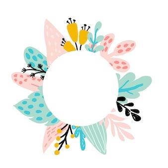 Marco floral con hojas azules y rosas de árboles tropicales, plantas abstractas, hojas, flores en colores pastel. para invitaciones, tarjetas para el día de la boda, día de la madre, cumpleaños, día de la mujer, ilustración vectorial