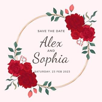 Marco floral de ilustración de boda