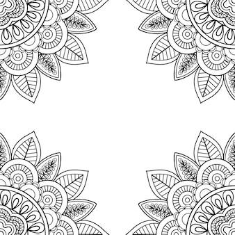 Marco floral indio para colorear libro de páginas.