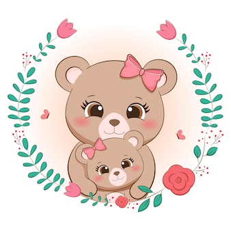 Marco floral lindo oso mami