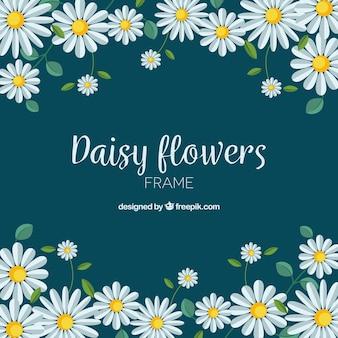 Marco floral con margaritas de diseño plano