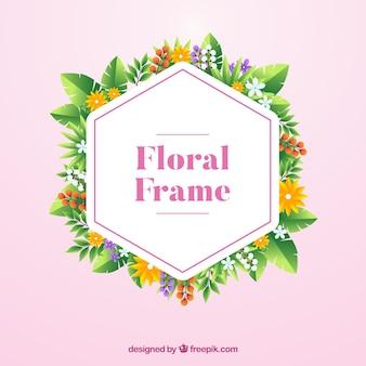 Marco floral moderno con diseño plano