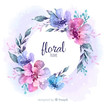 Marco floral moderno con estilo de acuarela