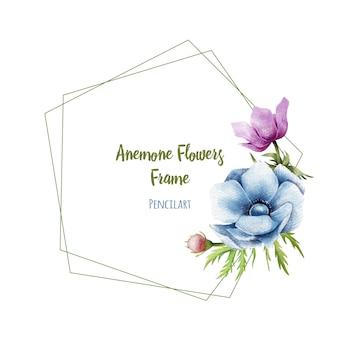 Marco floral moderno con flores de anémona.
