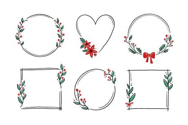 Marco floral de navidad con círculo, redondo, forma de rectángulo. doodle marco de corona de estilo dibujado a mano. ilustración de vector de navidad, decoración de boda.
