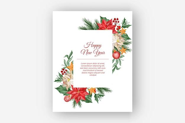 Marco floral navideño acuarela con flor de pascua, hojas y bola de luz navideña