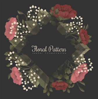 Marco floral oscuro con flores rojas y blancas