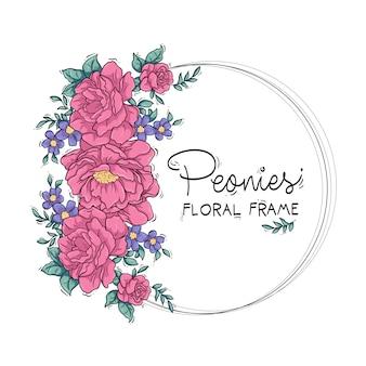 Marco floral de peonías