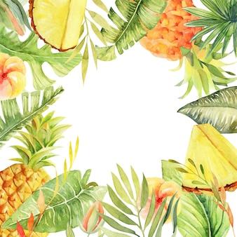 Marco floral de piñas acuarela, flores de hibisco, plantas verdes tropicales y hojas