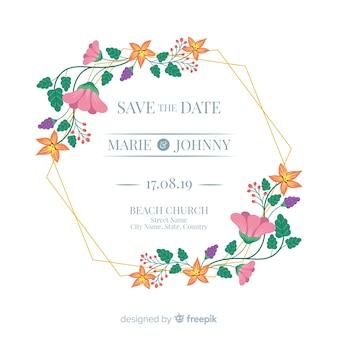 Marco floral plano de una invitación de boda