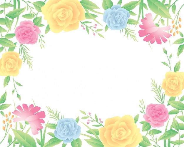 Marco floral plantilla decoración coloridas y hermosas flores rosas con hojas.