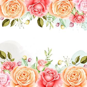 Marco floral plantilla de invitación de boda