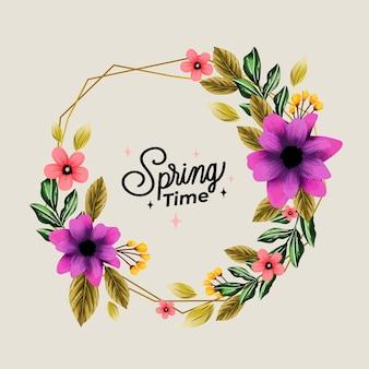 Marco floral de primavera acuarela flor violeta viva