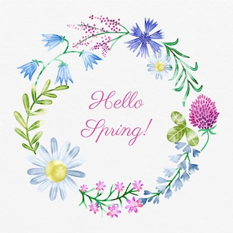 Marco floral de primavera acuarela con texto de hola primavera