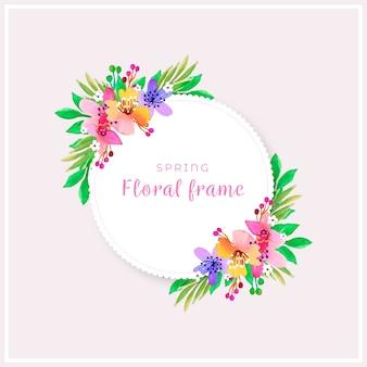 Marco floral de primavera acuarela en tonos coloridos