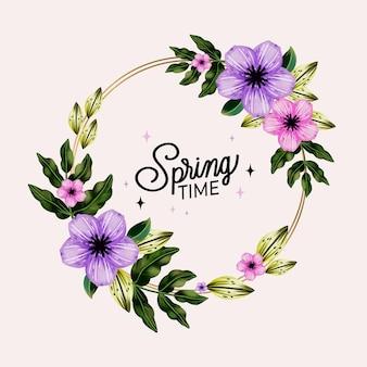 Marco floral de primavera acuarela violeta y rosa
