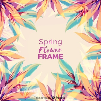 Marco floral de primavera en acuarela