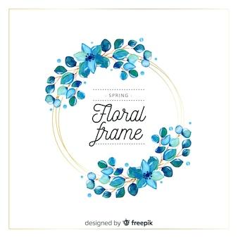 Marco floral primavera círculo acuarela