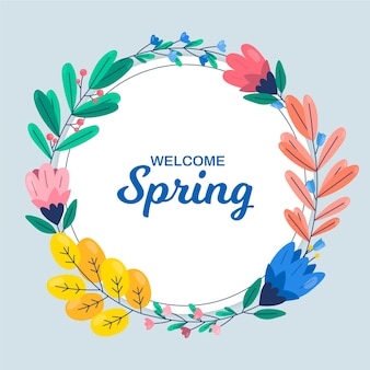 Marco floral de primavera con coloridas flores y hojas
