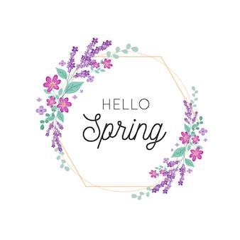 Marco floral de primavera con detalles dorados