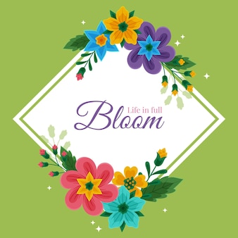 Marco floral de primavera dibujado a mano con mensaje