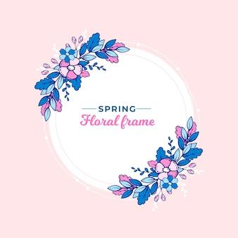 Marco floral de primavera dibujado a mano