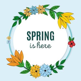 Marco floral de primavera dibujado con mensaje