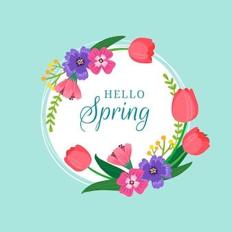 Marco floral de primavera dibujado