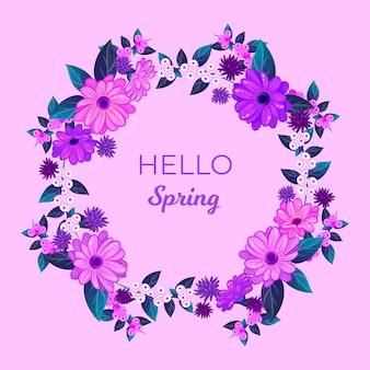 Marco floral de primavera de diseño plano