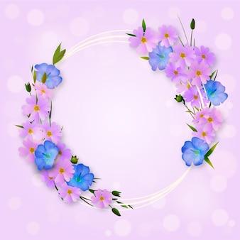 Marco floral de primavera encantador realista