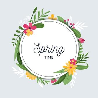 Marco floral de primavera en estilo de diseño plano