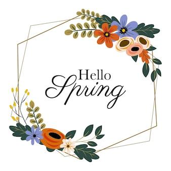 Marco floral de primavera hola dibujado a mano