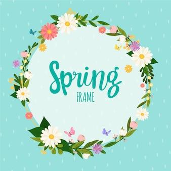 Marco floral de primavera con letras