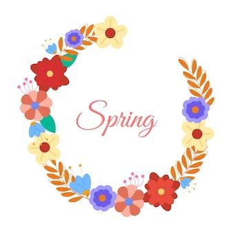 Marco floral de primavera plana