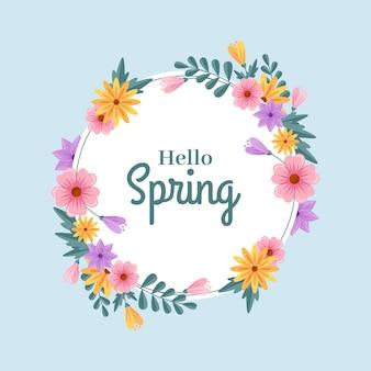 Marco floral de primavera plano detallado