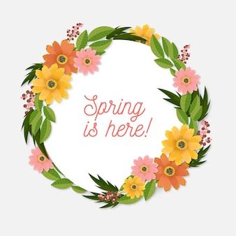 Marco floral de primavera realista con corona de flores