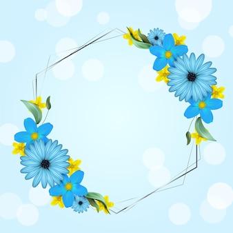 Marco floral de primavera realista con espacio vacío
