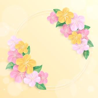 Marco floral de primavera realista