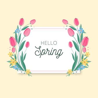 Marco floral de primavera con tulipanes