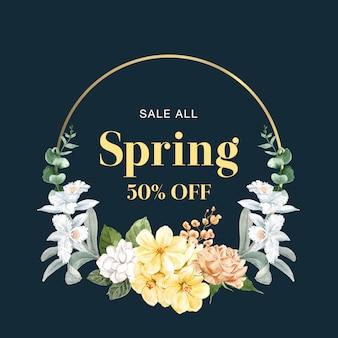 Marco floral de primavera de ventas.