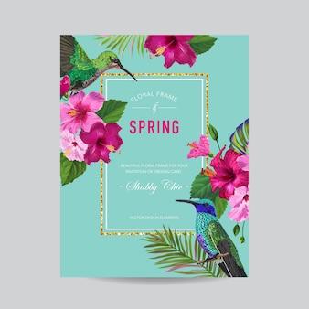 Marco floral de primavera verano con pájaros