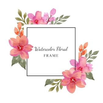 Marco floral púrpura rosa acuarela simple