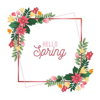 Marco floral realista primavera cuadrada