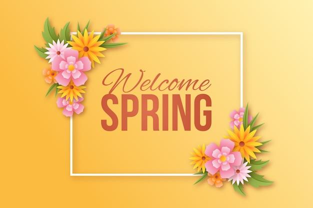 Marco floral realista de primavera