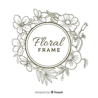 Marco floral redondo banner realista dibujado a mano